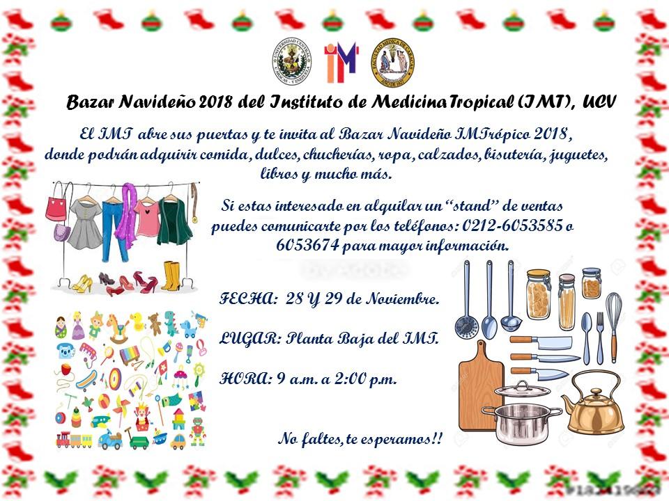 Instituto de Medicina Tropical realizará bazar navideño